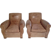 SALE Handsome Pair French Art Deco Club Chairs in Rare Palomino Color