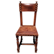 Antique Spanish Leather Hall Chair with Nail-heads