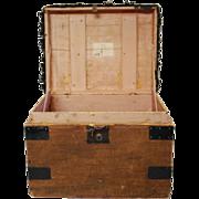 SALE Antique English Sisal Traveling Case Trunk Hat Box Portmanteau