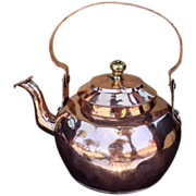 SALE Large 19th C. Copper Water Kettle Dovetailed