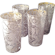 SOLD Vintage Georges Briard Silver High Ball Glasses w Flowers