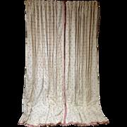 SALE PENDING Stylish Pair Linen Draperies lined in Pierre Frey Linen Check w Silk Trim