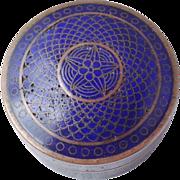 Blue Cloisonne Round Pill Box w Turquoise Enamel 1920's