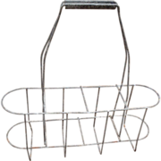 SALE Vintage French Metal Wine Bottle Carrier Caddy