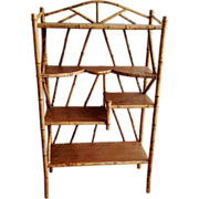 SALE Antique Tortoise Bamboo & Wood Display Shelf étagère Bookcase ca.1890