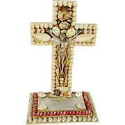 Grotto Art Seashell Cross Crucifix INRI Fine Quality Vintage