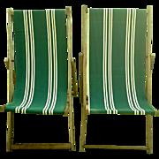 Pair Vintage English Wood & Canvas Folding Beach Deck Chairs