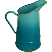 Vintage French Enamel Ombre Blue Pitcher early 1900's