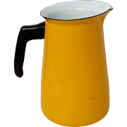 Mid-Century Enamel Pitcher Yellow w Black Handle French Large