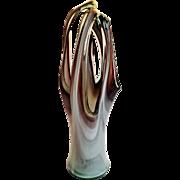 Large Vintage Murano Art Glass Vase w Swirls of Amethyst and Aqua