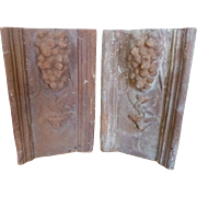 Antique Set of Two French Terracotta Garden Tiles Garden Borders Edging with Cluster of Grapes