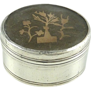Antique Silver Mother of Pearl Snuff Box with Paper Cut Work Scherenschnitte Miniature Paper .