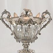 SOLD Antique French Sterling Silver Confiturier Crystal Bowl & Twelve Spoons