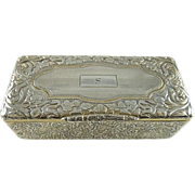 SOLD Antique French Silver Gilt Table Snuff Box Chased Foliate Motif
