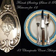 SOLD Antique French Sterling Silver Flatware Service for 12, 24 Pieces Circa 1850