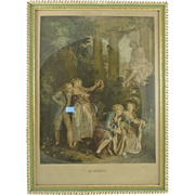 Colored Engraving French Scene Le Serment