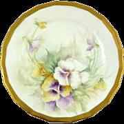 Antique Limoges Hand-Painted Dessert Plate Gilt Trim Pansies