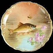 Antique Limoges Fish Charger Plate Gilt Trim Wall Plaque
