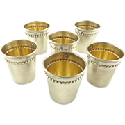 SOLD Antique French Sterling Silver & Vermeil Liquor Cups