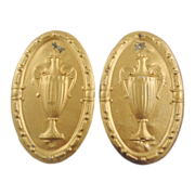 Pair of Antique Architectural Plaques Medallions Urns