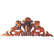 Antique Carved Architectural Pediment Lions