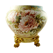 SALE Limoges Jardiniere  Vase Planter & Stand Hand Painted with Roses