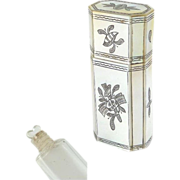 Antique French Perfume Etui~Mother of Pearl with Scent Bottle Heart Shaped Stopper