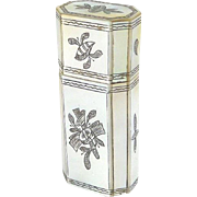 SALE PENDING Antique French Mother of Pearl Perfume Etui with Scent Bottle Heart Shaped Stoppe