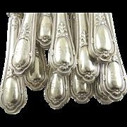 "Antique French Silver Knives Puiforcat Set of Twelve Monogrammed ""AR"""