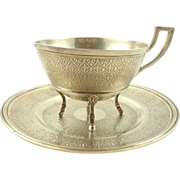 Antique French Sterling Silver Chocolate Cup & Saucer Circa 1860 346 Gram Weight