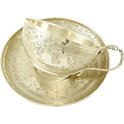 Antique French Sterling Silver Chocolate or Tea Cup with Saucer Boivin