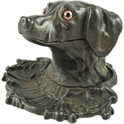 SALE Antique Cast Iron Figural Dog Ink Well Glass Eyes Circa 1875
