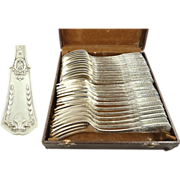 SALE French Silver Flatware Service for Twelve 24 Pieces with Case