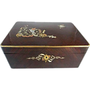 SALE Antique French Mahogany Dressing Box Mother of Pearl Inlay & Mirror