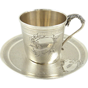 SOLD Antique French Sterling Silver Demitasse Cup & Saucer Armorial