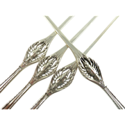 "Silver Figural Lobster Picks Set of Four Engraved with ""W"""