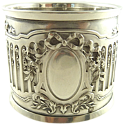SOLD Antique French Silver Napkin Ring Ornate Ribbons & Roses