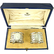 SOLD Antique English Sterling Silver Napkin Rings Boxed Pair Birmingham 1913