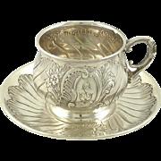 Antique French Sterling Silver Cup & Saucer Armand Fresnais, Paris