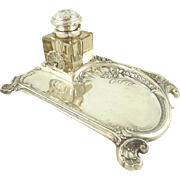 SALE French Silver Plate Inkwell & Pen Holder with Shell and Floral Motifs