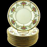 Minton Porcelain Plates w/Gilt Luncheon Plates Set of 10 Flower Baskets Swags