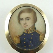 SOLD Antique Miniature Portrait Young British Officer in Uniform 14K Gold Frame