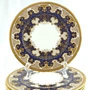 "SOLD Antique Coalport Service/Dinner Plates Cobalt Gilt Set of 8~10 1/2"""
