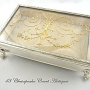 SOLD English Sterling Silver & Gilt Jewelry Box~Vitrine Casket