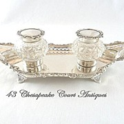 SOLD Antique English Sterling Silver Double Inkwell Edwardian 1902