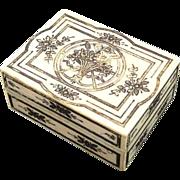 SOLD Antique Ivory Etui Box with Silver & Gold Foil Pique Palais Royal