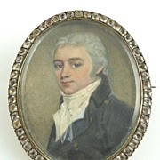 SOLD Antique Miniature Portrait of Georgian Gentleman Set In  Rose Gold