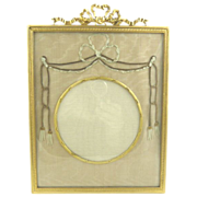 Antique French Bronze Dore Frame with Ribbon Work