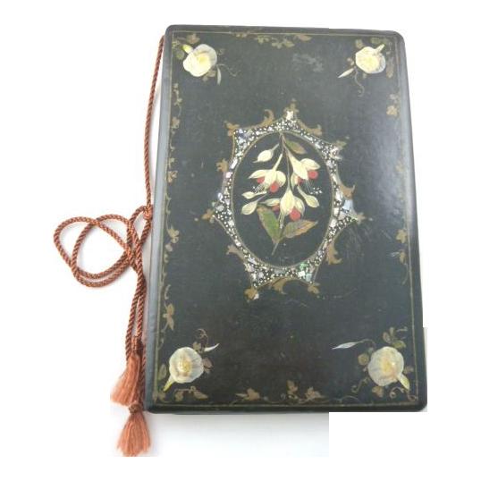 Antique Victorian Era  Papier Mache Blotter, Folio with Floral Design MOP & Abalone