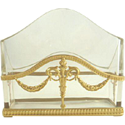 Antique French Empire Style Dore Bronze Crystal Letter Holder